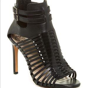 Vince Camuto Kipper caged black leather sandals